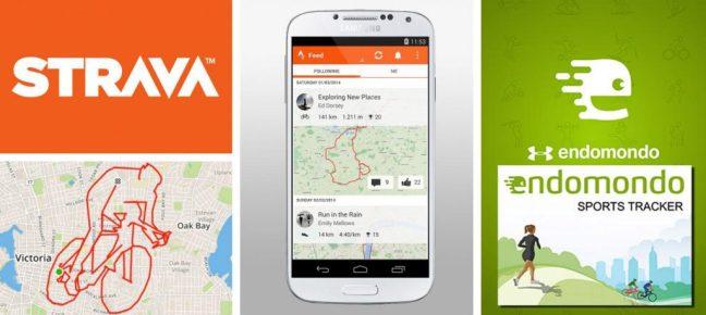 Imagem mostra logo dos aplicativos Strava e Endomondo