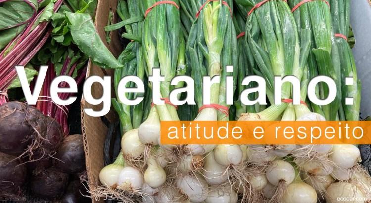 Foto mostra legumes e a palavra Vegetariano escrita sobre eles
