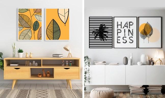 Foto mostra artes da DePoster em parede de sala