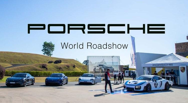 Foto mostra uma Porsche em evento em céu aberto