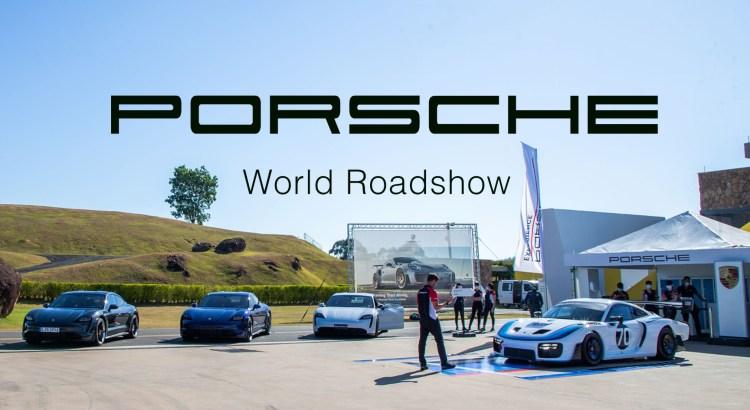 Foto mostra Porsche em evento em céu aberto