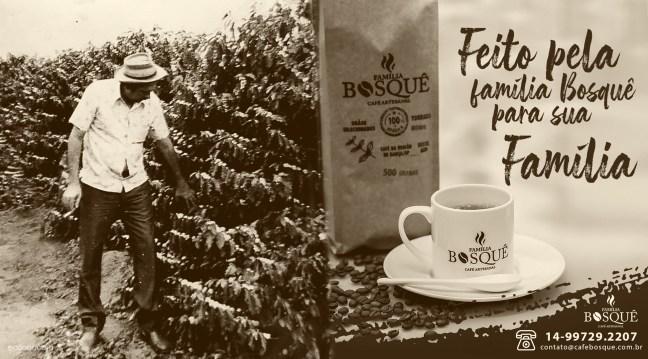 Foto mostra pessoa em cafezal e  produto Café Família Bosquê