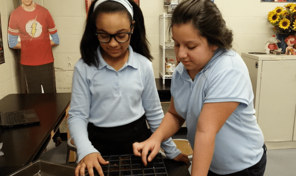 Two STEM Club students plant seedlings for a proposed hydroponic center in Joliet, Illinois.
