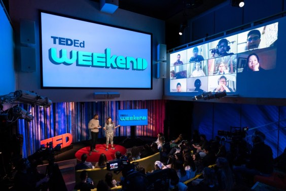 Hosts Ashley Kolaya and Bobby Nweke speak at TED-Ed Weekend. Photo: Ryan Lash