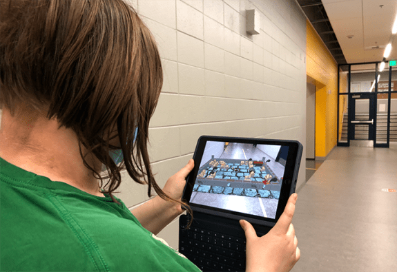 Student testing out their AR creation