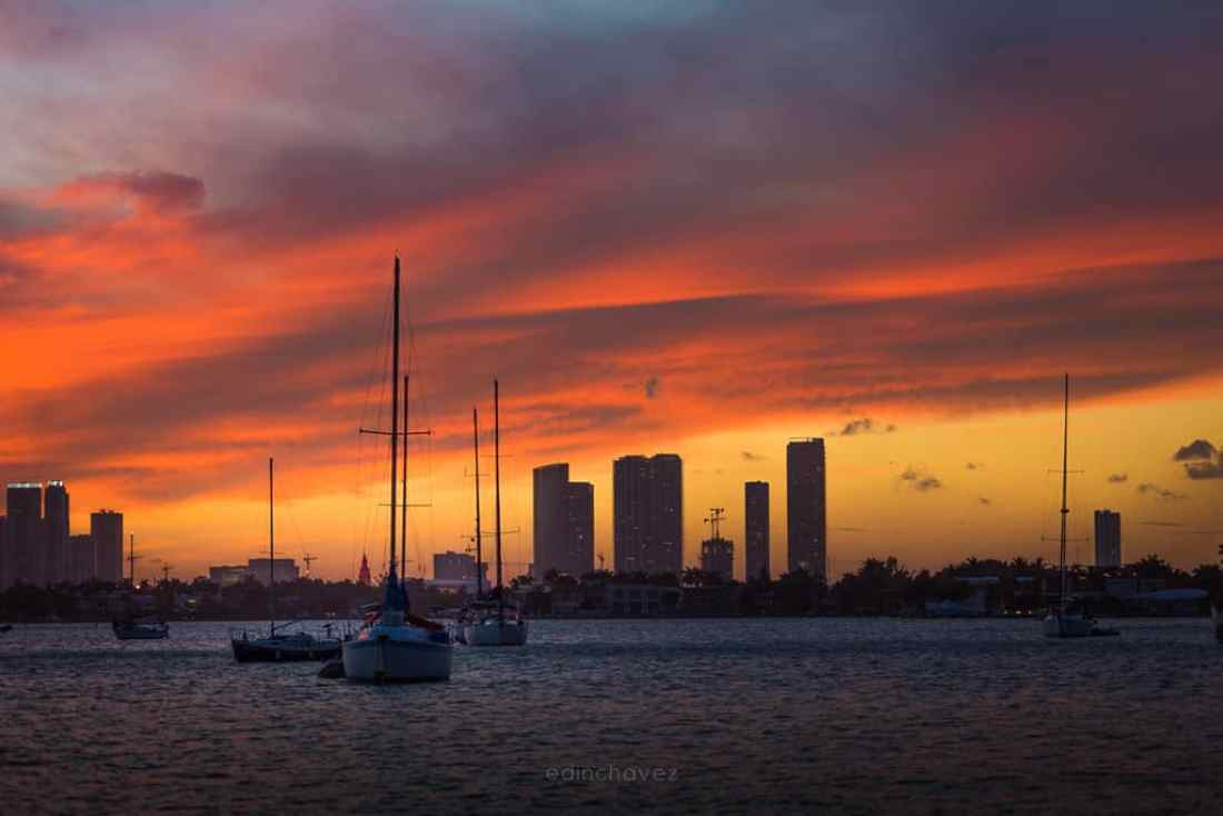 Sunset behind the Miami skyline Best Miami Beach Photography Spots