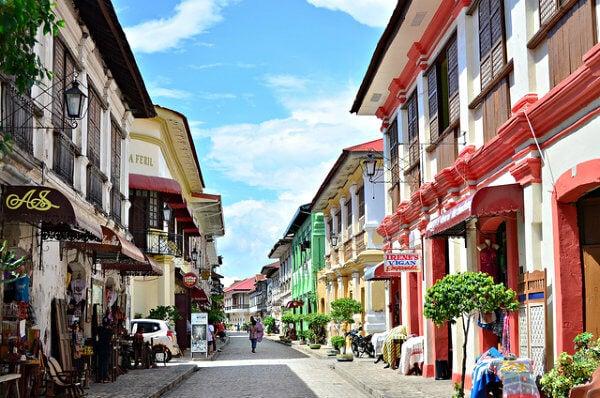 casas coloridas em Vigan, Filipinas