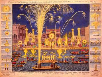 """Royal Fire-workes and Illuminations in Whitehall and on the River Thames on Monday 15 May 1749,"""