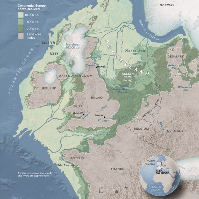 Map of Doggerland, a region of Europe exposed when sea levels were lower in the past.