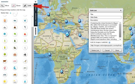 To add content to your geo-tour, first click on the Link button, and then click on a marker, drawing, or label.