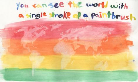 "A map by youth cartographers called ""You Can See the World in a Single Stroke of a Paintbrush"""