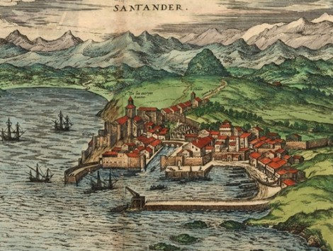 "Santander was already a flourishing port city when Flemish artist Joris Hoefnagel painted this cityscape around 1590. Today, the sleepy Spanish town may be the world's first ""smart city."" Painting by Joris Hoefnagel, courtesy Wikimedia"