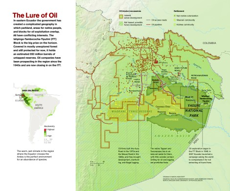 This beautiful National Geographic map displays the competing interests of stakeholders in eastern Ecuador: indigenous peoples, foreign oil companies, and environmental groups. Map by Virginia W. Mason, National Geographic