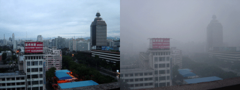 These two photographs were taken from the same vantage point in Beijing, China, just days apart. The photo on the left was taken after two days of rain, while the photo on the right was taken on a sunny day obscured by smog and other air pollutants. Photograph by Bobak, courtesy Wikimedia. This file is licensed under the Creative Commons Attribution-Share Alike 2.5 Generic license.