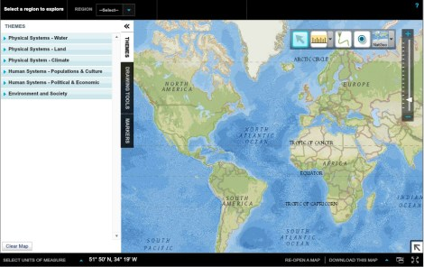The MapMaker Interactive is an online mapping tool available at NatGeoEd.org. Map features include thematic layers that can be turned off and on, with adjustable transparency. The adjustable transparency is a useful feature because it allows the user to see how two thematic layers (such as earthquakes and plate tectonics) are related spatially.