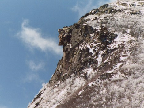 New Hampshire's Old Man of the Mountain was so familiar it appeared on their state quarter, but the rock formation collapsed in 2003. Photograph by Jeffrey Joseph, courtesy Wikimedia. This work has been released into the public domain by its author, Jeffrey Joseph at the wikipedia project. This applies worldwide.