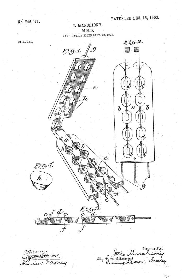 Illustration of Italo Marchiony's ice cream cup mold. United States Patent & Trademark Office.