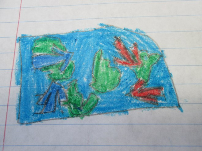 Student artwork shows a developing understanding of warm and cold water currents.  Photograph by Anne Lewis.