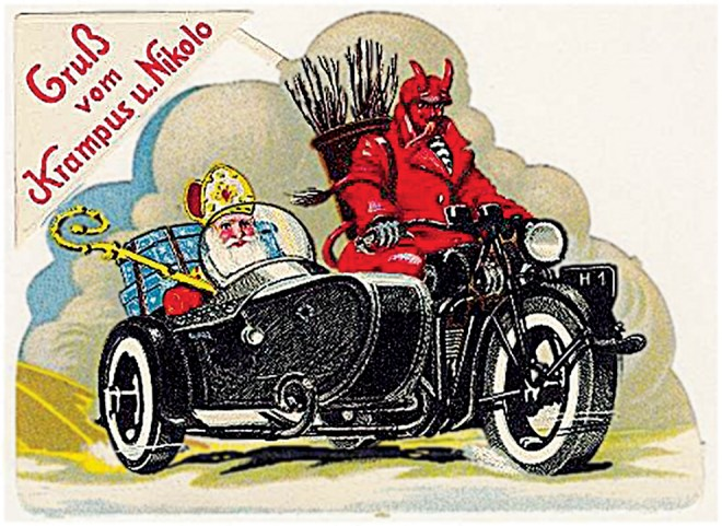 In some Alpine cultures, St. Nicholas rides shotgun to Krampus, a demon-like creature. Unlike St. Nicholas, Krampus punishes naughty children. See this illustration on our website. Illustration courtesy National Geographic Society