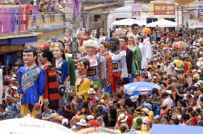 It wouldn't be carnival in Brazil without giant puppets—these stalk the streets of the city of Olinda. Photograph by Antonio Cruz, courtesy Wikimedia. CC-BY-3.0
