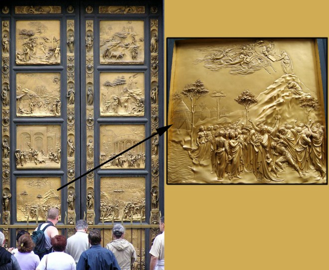 """The metalsmith Lorenzo Ghiberti sculpted bronze bas-reliefs for the doors of the baptistry of the Florence Cathedral (the Duomo). Michelangelo called these doors the """"Gates of Paradise."""" (The close-up panel is Moses receiving the Ten Commandments in what generously seems more like Renaissance Tuscany than the prehistoric Negev.) Photographs by Eteru (doors) and Kandi (Moses), courtesy Wikimedia. Both CC-BY-SA 3.0"""