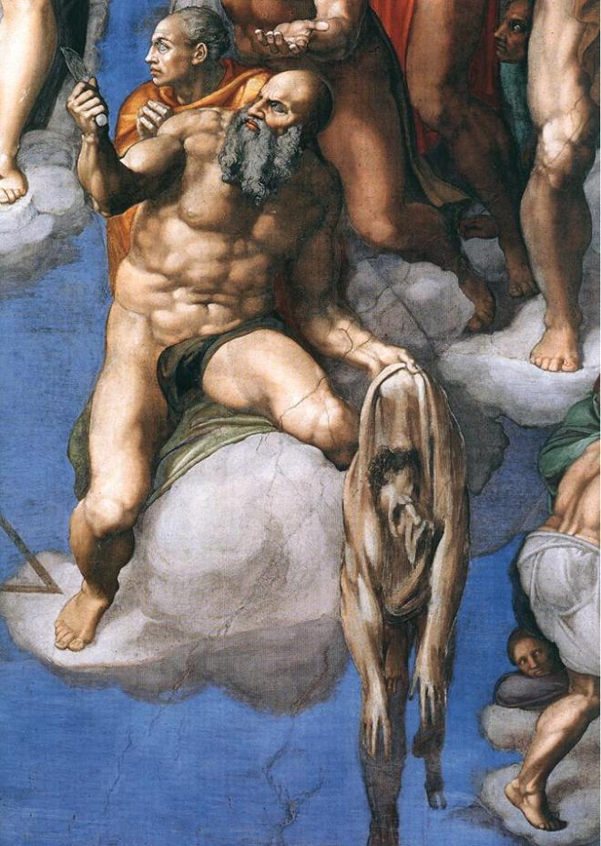 The sagging skin of St. Bartholomew is allegedly a self-portrait of Michelangelo. Fresco by Michelangelo Buonarroti (The Last Judgement, Sistine Chapel, Vatican City)