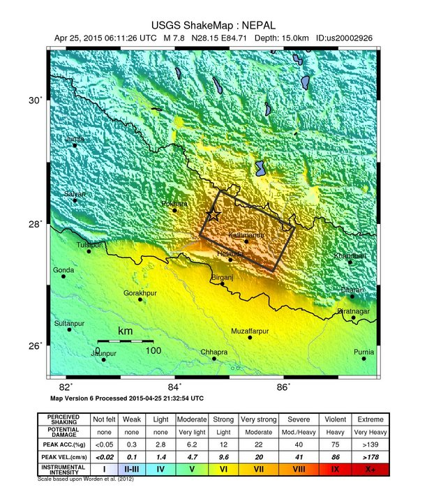The USGS shakemap of the devastating Nepal earthquake gives the quake's intensity over the entire region. Visit the USGS' informative, up-to-date interactive map of the quake here. Map by USGS