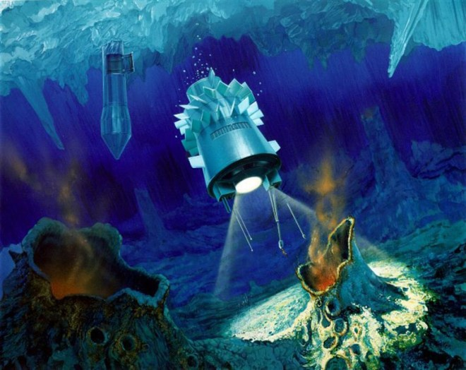 """Here is one proposal for a Europan ocean """"cryobot""""—an probe to explore the icy crust of the Jovian moon and its likely volcanic vents. Illustration courtesy JPL/NASA"""