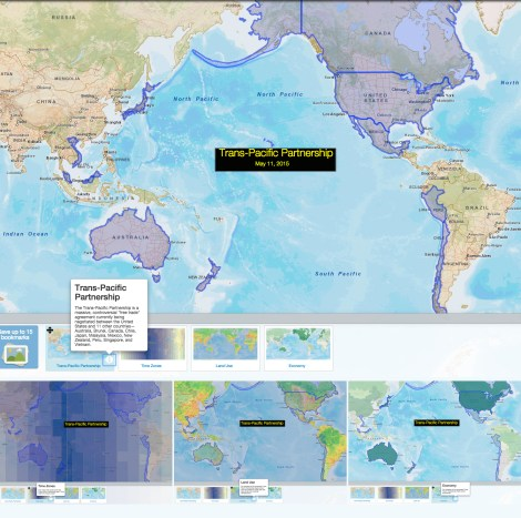 Customize this map and experiment with layers to study the impact of the Trans-Pacific Partnership. Browse the bookmarks to see discussion ideas about time zones, land-use and development, and the economies of TPP nations.