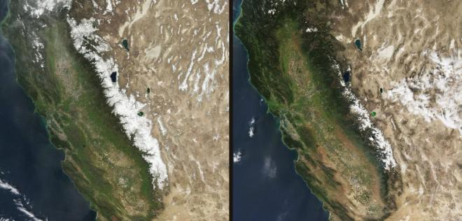 Snow in the Sierra Nevada in March of this year (right) was much more sparse than in March 2010 (left). NASA Earth Observatory images by Jesse Allen, using data from the Level 1 and Atmospheres Active Distribution System (LAADS). Caption by Alan Buis and Michael Carlowicz