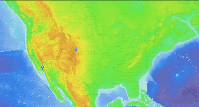 The surface elevation layer of our MapMaker Interactive shows the altitude difference between Los Angeles (left) and Denver (right). Map by National Geographic