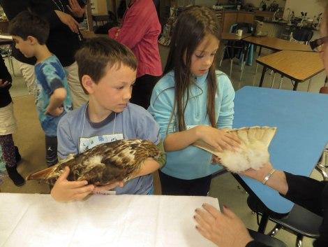 kids handling birds
