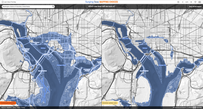Will the Mall be drowned in a century? This map presents extreme scenarios for how sea-level rise may impact downtown Washington, D.C. The left shows a scenario of unchecked pollution, while the right shows a scenario of extreme cuts in carbon emissions. Click to find other coastal cities and adjust for temperature and different levels of carbon-emission reduction. Map courtesy Climate Central