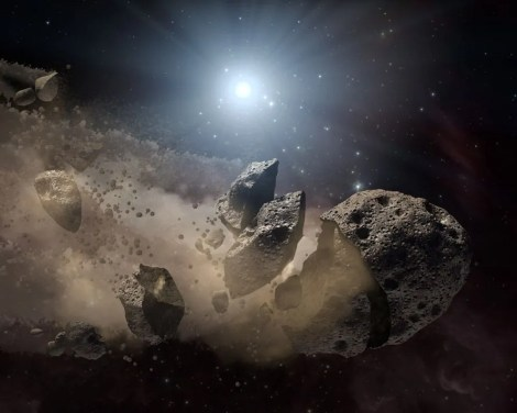 This space rock is going from asteroid to meteoroid to micrometeoroid. Illustration by NASA/JPL-Caltech