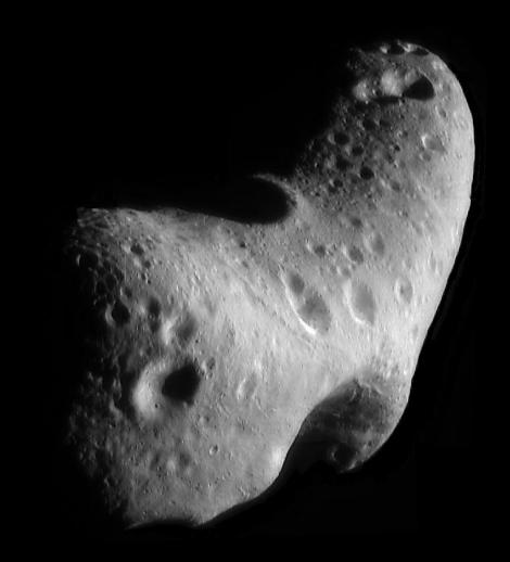 This image, taken by NASA's Near Earth Asteroid Rendezvous mission in 2000, shows a close-up view of Eros, an asteroid with an orbit that takes it somewhat close to Earth. Photograph courtesy NASA/JHUAPL