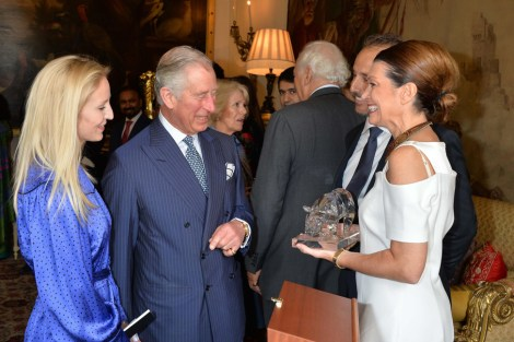 The founders of The Perfect World Foundation were invited by their Royal Highnesses The Prince of Whales and The Duchess of Cornwall where they handed over the prestigious award 'The Fragile Rhino' created by Orrefors, which is awarded to the conservationist of the year. Photo provided by The Perfect World Foundation