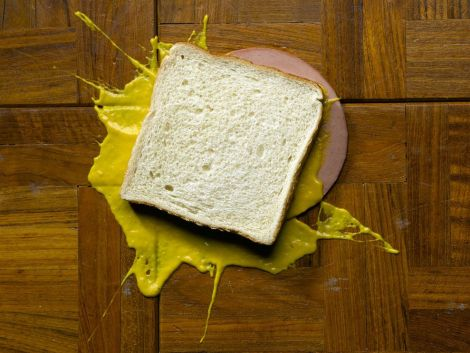 Splat! The mustard is a lost cause, but would you salvage the bologna and bread? Photograph by Rebecca Hale, National Geographic