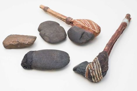 The 45,000-year-old fragment probably came from an ax similar to these, from the Australian National University. Photograph courtesy Australian National University