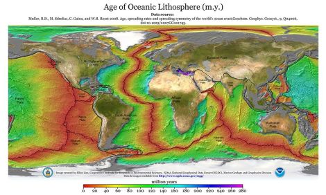 NOAA is going to have to update its purple legend by 60 million years. Map courtesy NOAA