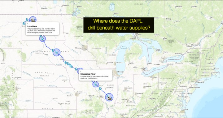 The DAPL intersects with 22 bodies of water. Use today's MapMaker Interactive map to see what rivers and creeks the pipeline must drill beneath. Remember: This is not a National Geographic map; this is an amateur map made with our National Geographic MapMaker Interactive tool. Please make your own map of the DAPL and share it with us!