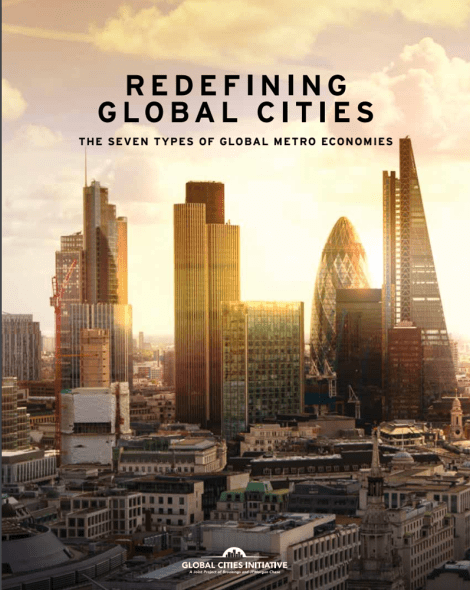 "Quite a cityscape, isn't it? Cover of ""Redefining Global Cities: The Seven Types of Global Metro Economies"", from the Global Cities Initiative"