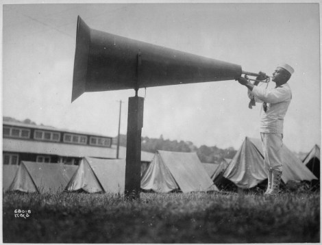 A bugler calls the morning alarm at the U.S. Naval Training Camp in Seattle, Washington, in 1917. We assume the Naval War College uses different means of motivating students for early-morning classes these days. Although, honestly, this would work. Photograph by the U.S. War Department, courtesy U.S. National Archives