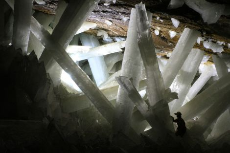 """Enormous gypsum crystals give the """"Cave of the Crystals"""" its name. Photograph by Alexander Van Driessche, courtesy Wikimedia. CC-BY-3.0"""