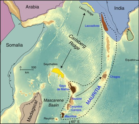 """The microcontinent of Mauritia stretched between the modern islands of Mauritius and southwestern India. Map by Lewis D. Ashwal, Michael Wiedenbeck & Trond H. Torsvik. """"Archaean zircons in Miocene oceanic hotspot rocks establish ancient continental crust beneath Mauritius."""" Nature Communications 8. doi:10.1038/ncomms14086"""