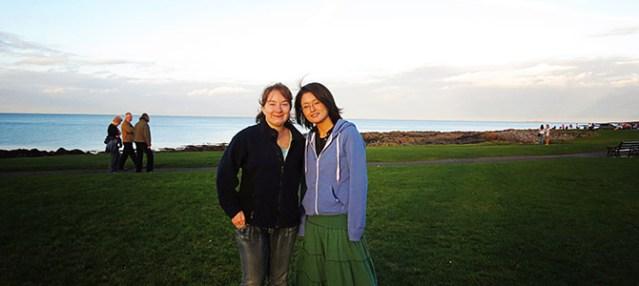 Keytelynne Radee and her friend Seiko in Rush, Co Dublin