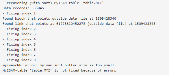 myisamchk error myisam_sort_buffer_size is too small