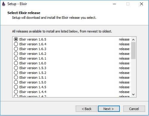 Select elixir release