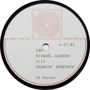 "Startin' Somethin' - Rare 1982 US ultra high-grade methyl cellulose metal based lacquer reference single sided test pressing acetate for the 7"" single cut into a 45RPM 10"" disc"