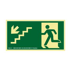 Placa de Sinalização Escada Desce Esquerda