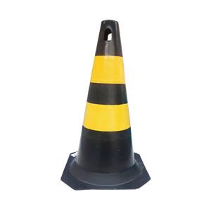 Cone PVC Plastcor Preto/Amarelo
